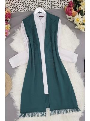 Tasseled Pompom Knitwear Vest -Oil color