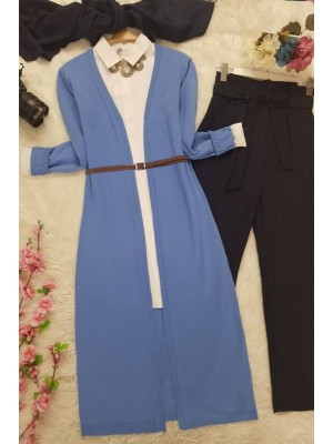 Long Knitwear Cardigan -Blue