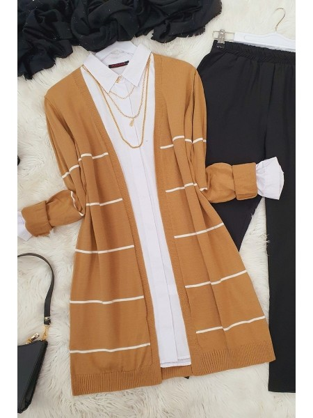 Striped Knitwear Cardigan -Mink color