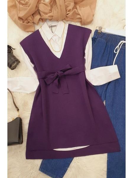 Belt Knitwear Sweater     - Purple