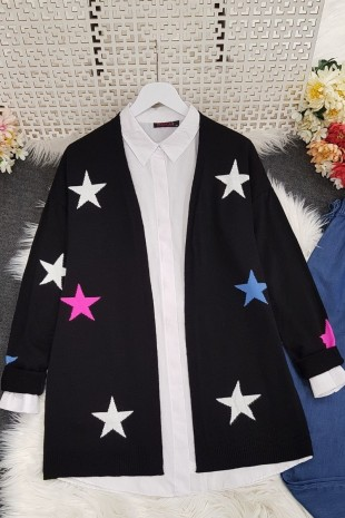 Yıldız Desen Hırka -Siyah
