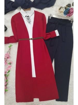 Long Knitwear Cardigan -Red