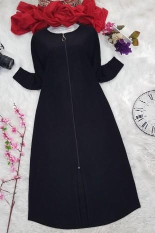 Fermuarlı Ferace -Siyah