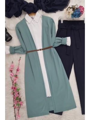 Long Knitwear Cardigan   -Mint Color