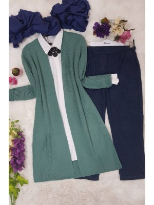 Corrugated Knitted Cardigan -Mint Color