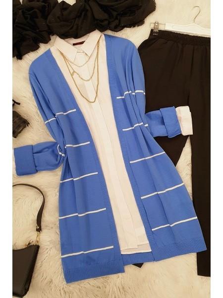 Striped Knitwear Cardigan -Blue