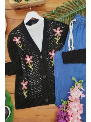 Flower Patterned Short Cardigan -Black