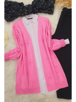 Pompom Cardigan   -Pink