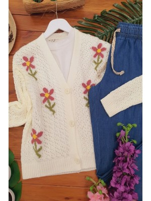 Flower Patterned Short Cardigan -Ecru