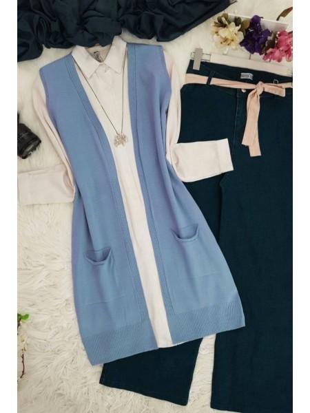 Double Pocket Vest     -Baby Blue