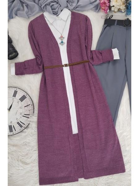 Long Knitwear Cardigan    -Cherry Color