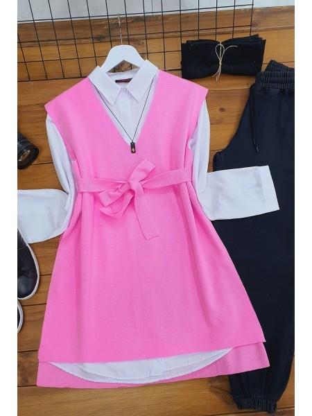 Belt Knitwear Sweater    -Pink