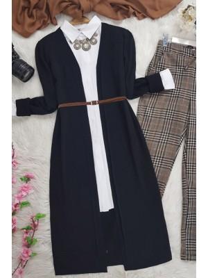 Long Knitwear Cardigan-Black