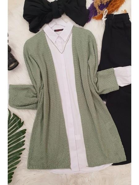 Bat Sleeve Cardigan -Green