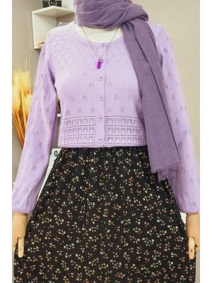 Buttoned Openwork Short Knitwear Cardigan -Lilac