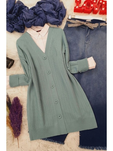 Buttoned Knitwear Tunic   -Mint Color