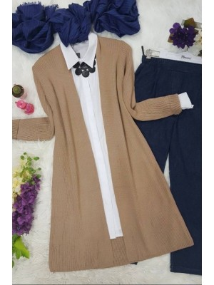 Corrugated Knitted Cardigan -Mink color