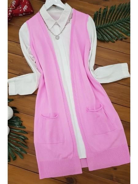 Double Pocket Vest          -Pink