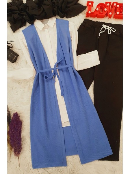 Mesh Spring Cardigan -Blue