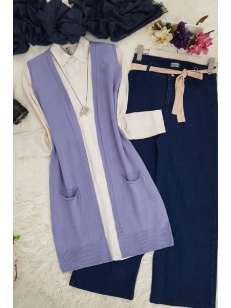 Double Pocket Vest       -Lilac