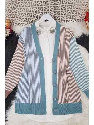 Buttoned Striped Cardigan -Mint Color