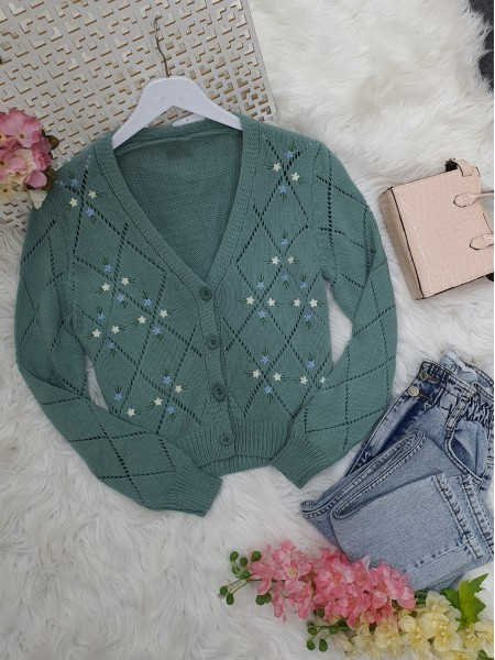 Openwork Floral Embroidered Buttoned Knitwear Cardigan -Mint Color