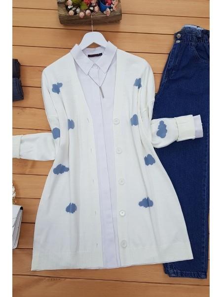 Buttoned Cloudy Cardigan -Ecru