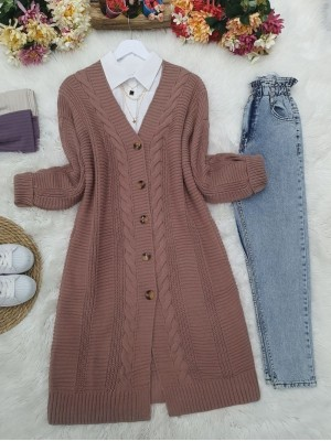 Hair Knitting Detailed Buttoned Thick Knitwear Cardigan -Dried rose