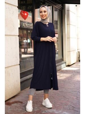 Zippered Abaya  -Navy blue