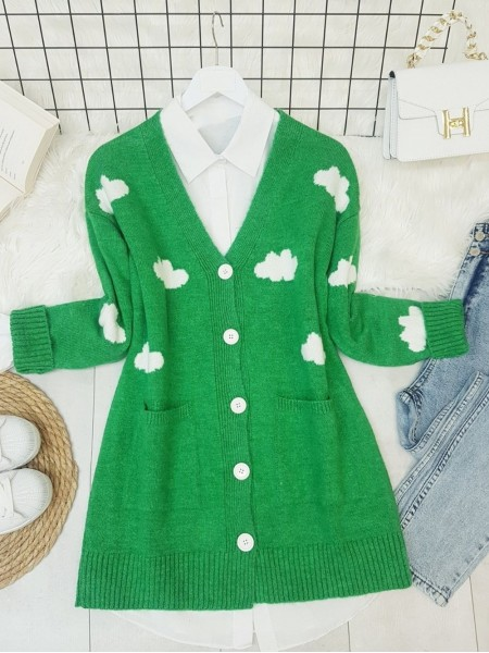 Cloud Patterned Double Pocket Buttoned Fluffy Cardigan -Green