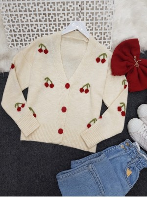 Cherry Patterned Short Cardigan   -Ecru