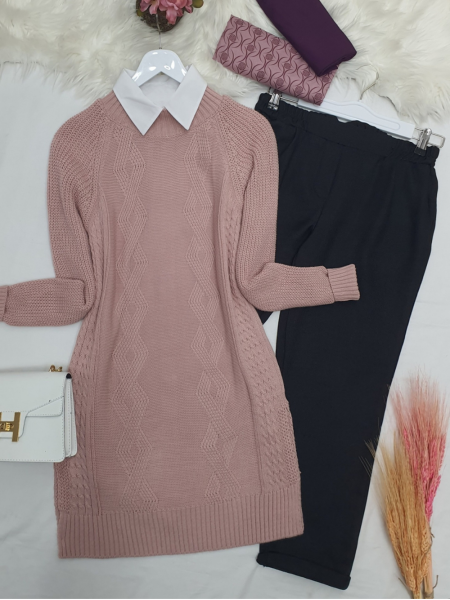 Hair Knit Knitwear Tunic-Powder