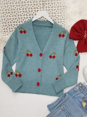 Cherry Patterned Short Cardigan   -Blue