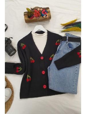 Cherry Patterned Short Cardigan  -Black