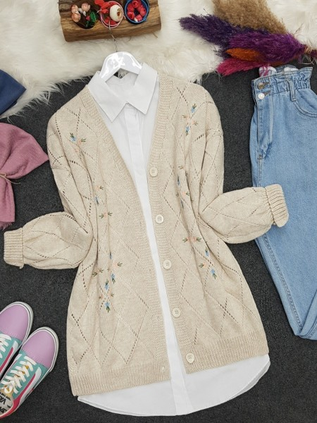 Openwork Floral Embroidered Buttoned Knitwear Cardigan  -Stone