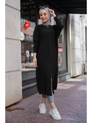 Zippered Abaya -Black