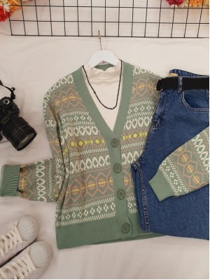 Patterned Short Cardigan with Elastic Sleeve and Skirt -Mint Color