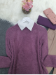 Hair Knit Knitwear Tunic  -Cherry Color