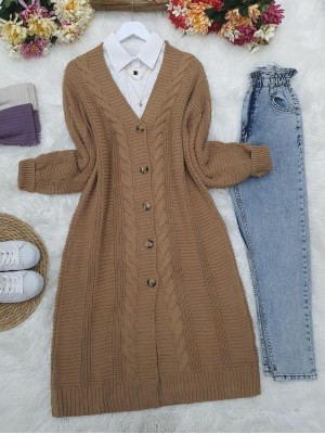 Hair Knitting Detailed Buttoned Thick Knitwear Cardigan -Mink color