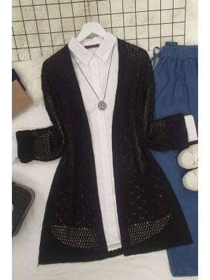 Openwork Cardigan with Slits -Black