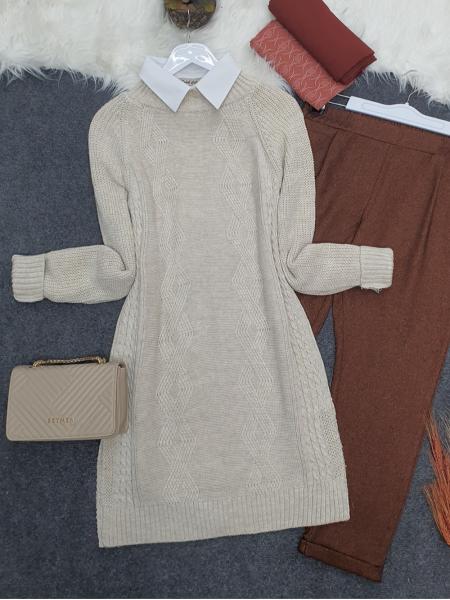 Hair Knit Knitwear Tunic  -Stone