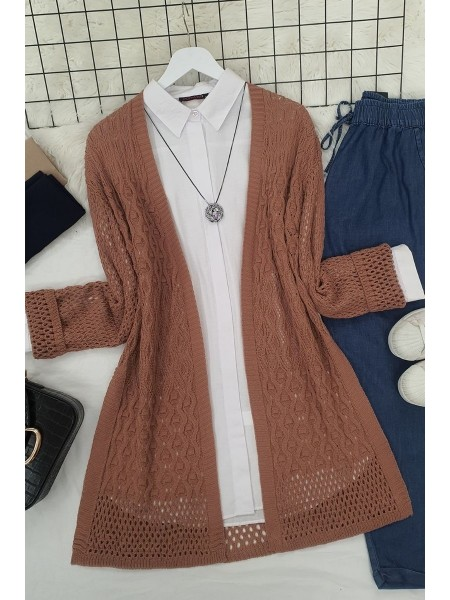Openwork Cardigan with Slits -Dried rose