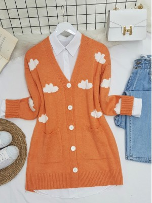 Cloud Patterned Double Pocket Buttoned Fluffy Cardigan  -Salmon