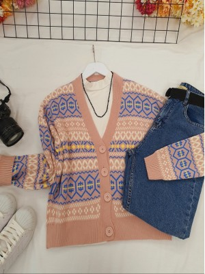 Patterned Short Cardigan with Elastic Sleeve and Skirt -Powder