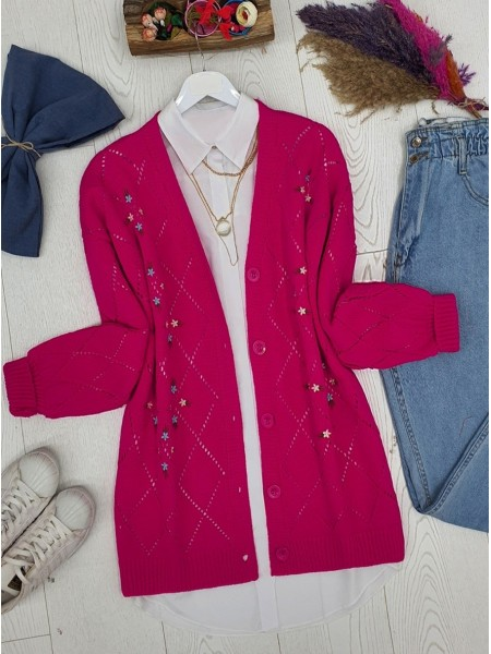 Openwork Floral Embroidered Buttoned Knitwear Cardigan -Fuchsia