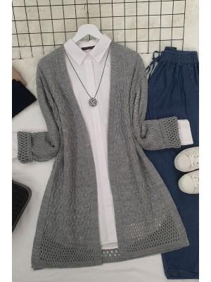 Openwork Cardigan with Slits -Grey