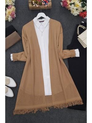 Skirt Tasseled Mesh Cardigan -Mink color