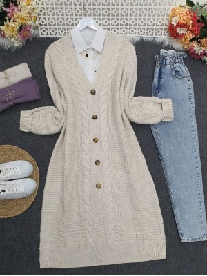Hair Knitting Detailed Buttoned Thick Knitwear Cardigan -Stone