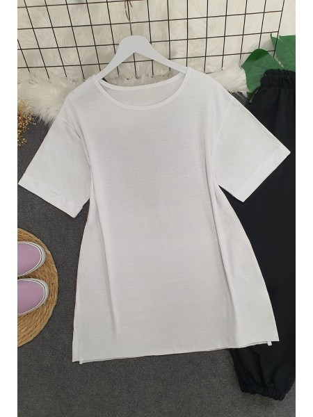 Wide Collar Basic Tshirt -White