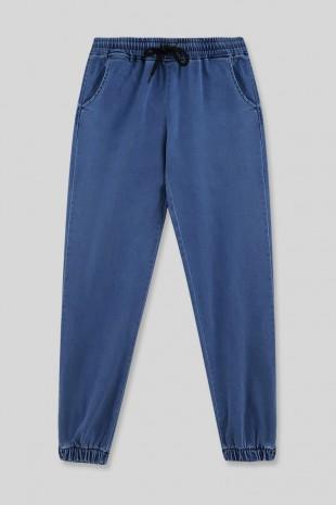 Beli Lastikli Kot Pantolon -Mavi